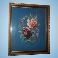 A Lovely Vintage Framed Floral Needlepoint  Home Decor Wall ART