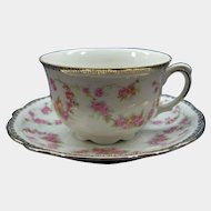 SCHUMANN   Original  Bridal Rose  Tea Cup & Saucer Bavaria Germany