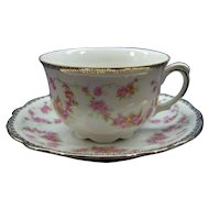 SCHUMANN   Original  Bridal Rose  Tea Cup & Saucer Bavaria Germany