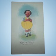 Black Americana Memorabilia   Collectible Post Card Kiss Me Honey I's Starvin