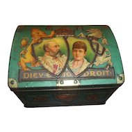 A Collectible Vintage Advertising Souvenir Tin Litho  Chest Trunk Coronation 1902