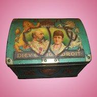 A Collectible Vintage Advertising Souvenir Tin Litho  Chest Trunk Coronation 1902