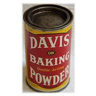 A Vintage Advertising Tin For Davis Baking Powder