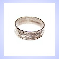 Vintage Embossed Heart Band Ring Sterling Size 6.75