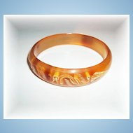 Unusual Carved Horn Bangle Bracelet