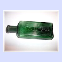 Collectible Vintage Green Not To Be Taken Poison Glass Bottle