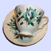 Vintage Blue Roses Tea Cup & Saucer Bone China England
