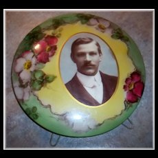 Collectible Vintage Celluloid Portrait Photograph & Stand