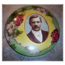 Collectible Vintage Celluloid Portrait Photograph & Stand