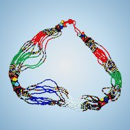 Cheerful Colorful Glass Seed Bead Necklace Floral Motif