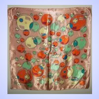 Pretty Vintage Ladies Fashion Scarf  Handkerchief  Balloon Motif