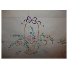 Pretty Basket of Flowers Tea Towel and Table Throw