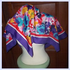 Pretty Colorful Vintage Signed  Patricia Dumont Chiffon Polyester Scarf