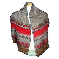 A Vintage Designer Signed Burmel  All  Silk Scarf  Hand Rolled