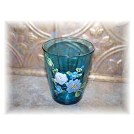 Pretty Victorian Era  Enameled Capri Blue Glass Tumbler Floral Motif