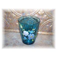 Pretty Victorian Era  Enameled Capri Blue Glass Tumbler Floral Motif