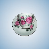 Pink Rose Floral Motif  Royal Vale Tea Cup  / Teacup Saucer Set