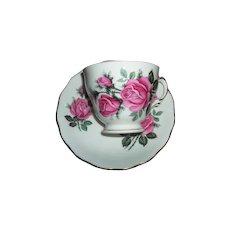 Pink Rose Floral Motif  Royal Vale Tea Cup  / Teacup Saucer Set