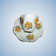 Yellow and Pink Roses Tea Cup  Saucer Set Royal Imperial
