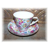 Colorful Marina Lord Nelson Chintz Tea Cup & Saucer