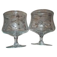2 Vintage Crystal Glass Brandy  Cognac Liquor Snifters Etched Wonderful Quality