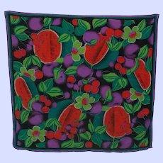An Exceptional Designer Saldarini  Silk Chiffon  Bright Colorful  Fruit  Floral Scarf