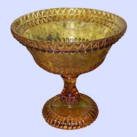 Adams Glass Co Amber Pressed Glass Open Compote  Wildflower