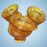 4 Amber Glass Footed Sauce Bowl Adams Glass Co. Wild Flower EAPG