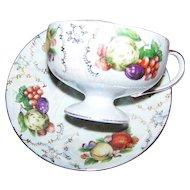 Pretty  Decorative Lustre Fruit Motif Tea Cup & Saucer