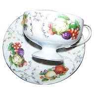 Pretty  Decorative Lustre Fruit Motif Tea Cup & Saucer