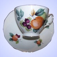 Lovely Vintage Royal Vale  Mixed Fruit Tea Cup & Saucer