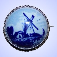 Unsigned Blue & White Delft Porcelain Scenic Windmill  Brooch Pin