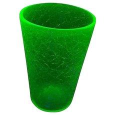 Hand Blown GLOWS Under UV Lite Greenish Blue Crackle Uranium Pontil Glass Vase