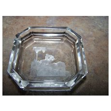 Czechoslovakia Bohemia Crystal Salter Intaglio Hunting Image
