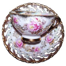 Hand Decorated Shafford Japan Floral Tea Cup Saucer Set