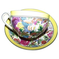 Cheerful Colorful  Crown Ducal  Ware Bird Floral Chintz Tea Cup Saucer Set