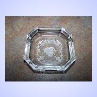 Bohemian Crystal Intaglio Open Salt Cellar Cupid Arrow Bow