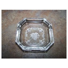 Bohemian Crystal Intaglio Open Salt Cellar Cupid Arrow Bow
