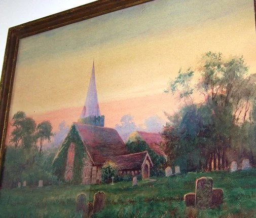 Water Color Painting Cemetery Graveyard Church Tombstones ...