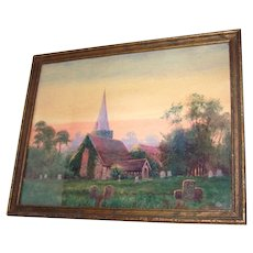 Water Color Painting Cemetery Graveyard Church Tombstones ART