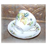 Queen Anne Leaf Berry Motif Tea Cup & Saucer Bone China