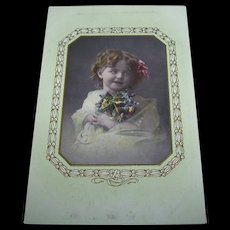 Beautiful Vintage Tinted Real Photograph Card  Little Girl