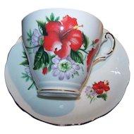 Regency English Bone China Red Hibiscus Flora Tea Cup Saucer Set