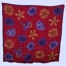 A Pretty Designer Signed ELAINE GOLD Colorful Floral Scarf Wearable ART