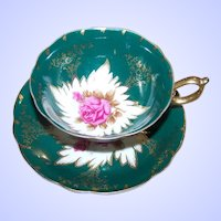 Pink Rose Floral Castle China Japan Tea Cup Saucer Set