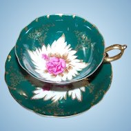 Pink Rose Floral Castle China Japan Tea Cup Saucer Set