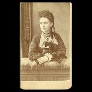 Collectible Vintage CDV Carte de Visite Photograph Beautiful Young Lady Jewelry Hair Decoration
