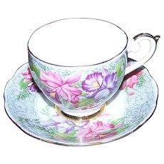 Pretty Pink Purple Floral Tea Cup & Saucer Set