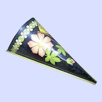 Toleware Vintage Tin Metalware Wall Pocket Floral Butterfly