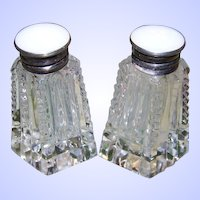 Cut Crystal Sterling Button Top Style Salt Pepper Shakers